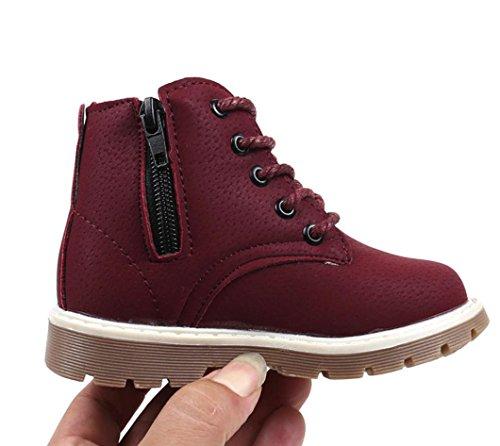 IGEMY Warme Jungen Mädchen Martin Sneaker Boots - Temperament Baby Weinrot