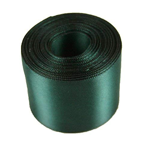 (5 Yards Rolled up 1-1/2 SINGLE FACE SATIN Ribbon 100% Polyester Choose Color (589 - HUNTER GREEN))