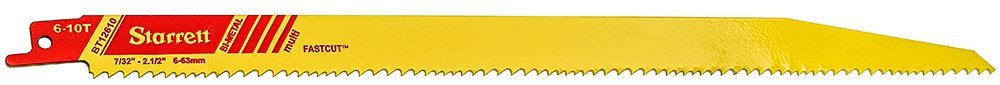 Starrett BT12610-50 Bi-Metal Fast Cut Tapered General Purpose Reciprocating Blade, 0.050'' Thick, 6-10 TPI, 12'' Length x 3/4'' Width (Pack of 50) by Starrett