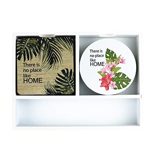 (Cimostar Wooden Coasters Sets for Drinks With Holder Storage Box Holder for Coasters/Chopsticks/Knives/Forks Perfect Housewarming Gifts (Flower))