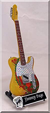 JIMMY PAGE - Guitarra en miniatura LED Zeppelin Telecaster Dragon con púa de guitarra