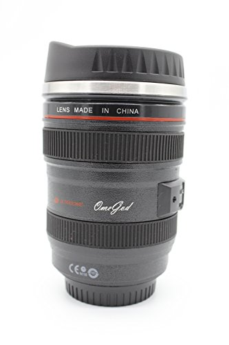 OmeGod New Looks Like SLR Lens 24-105mm Stainless Steel Travel Coffee Mug/ Cup with Sipping Lid & Holding Bag(Sipping Lid, Black)