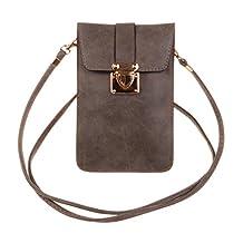 KISS GOLD (TM) Luxury Matte PU Leather Mini Crossbody Single Shoulder Bag Cellphone Pouch (Grey)