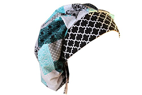 Scrub Hat Chemo Cap Bouffant Style MANY Color Options Available (blue black patchwork)