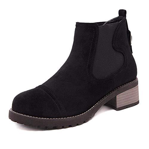Eu Chaussures 37 Rétro Avec Plates Dames De Bottes Plat Deed Élastique Rond qBPFUwRx