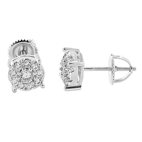 Cluster Solitaire Earrings Round Design Screw Back 14K White Gold Finish Iced Out (14k Gold Design Earrings)