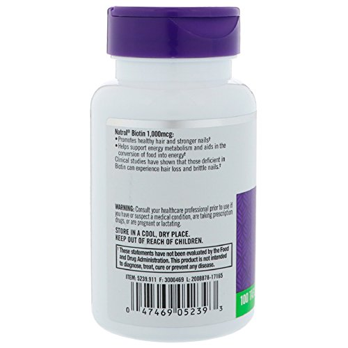 Natrol Biotin (10,000mcg) Maximum Strength 100 tabs by NATROL: Amazon.es: Salud y cuidado personal