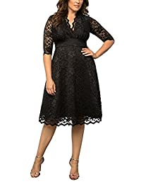 Dilanni Women's Plus Size Lace Wedding Cocktail Party Skater Dress