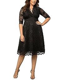 Dilanni Women's Lace Half Sleeves Wedding Party Short Dress Plus Size