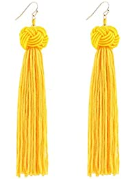 Knotted Dangle Tassel Earrings Long Thread Tassel Beaded Eardrop For Women Girls