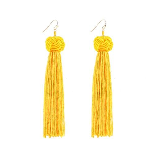 DDH Knotted Dangle Tassel Earrings Long Thread Tassel Yellow Beaded Eardrop For Women Girls
