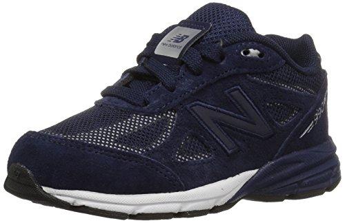 New Balance Boys' 990v4 Running Shoe, Navy/Silver, 5.5 M US Big Kid by New Balance
