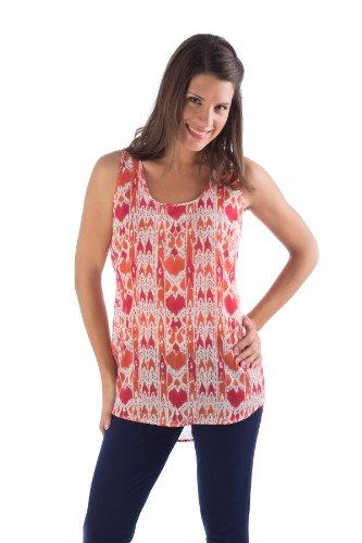 Block Printed Cotton Top - ERT481 Medium Mandarin / Red Ikat Erin Sleeveless Top. 100% Organic Cotton. Hand Block Printed.