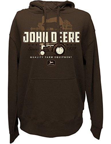John Deere Mens Vintage Tractor Pullover Hooded Sweatshirt-Large Brown (John Deere 404 Diesel Engine For Sale)