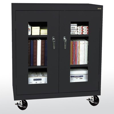 Sandusky Lee TA2V461842-09 Elite Series Transport Mobile Clear View Counter Height Storage Cabinet, - Cabinet Mobile Height