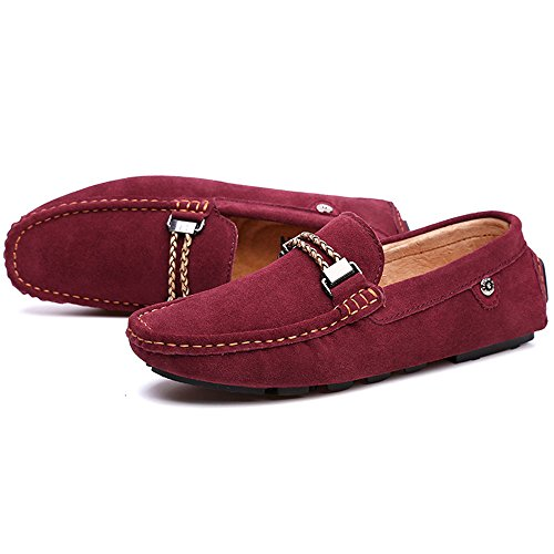 Caminar Zapatos Rojo Gommino Barco De Gamuza Mocasines Cuero Para Hombres g45qxwnZU
