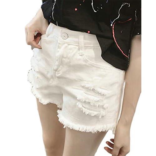 Fulok Womens Classic Destroyed Cut Off High Wasit Wide Leg Denim Shorts