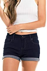 """Denim Shorts Ripped Folded with Pockets Women Mid Rise Jeans Casual Stretchy Package: 1 PieceSize ChartS: Waist 27.17""""  Hip 37.40""""  Length 10.63""""M: Waist 29.13""""  Hip 39.37""""  Length 10.83""""L: Waist 31.10""""  Hip 41.34""""  Length 11.02""""XL: Wai..."""