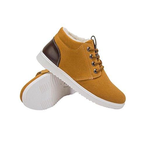 Chaussures Respirant Plat Dentelle Mode Doublure Bottes Fourrure Sport Casual Jaune Sneaker Chaud Hommes Hiver en Plein Air jusqu'à Meijunter a7OZIx