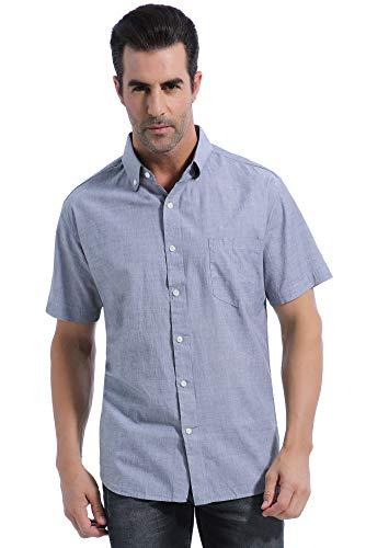 - Coevals Club Men's Regular-Fit Short-Sleeve Solid 100% Cotton Shirt (3XL, Grey #2)