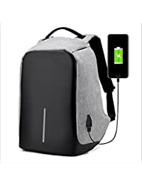 Waterproof Computer Laptop Backpack Outdoor Travel Backpacks with USB Charging Port High school bag Adult Campus Student Bags Business Slim Tech Vintage Canvas Backpack (Gray)