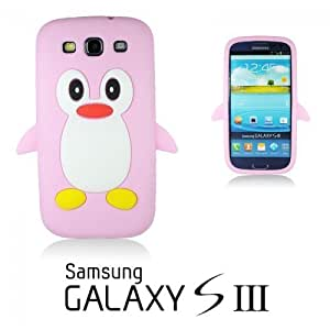 OnlineBestDigital - Penguin Style Soft Silicone Case for Samsung Galaxy S3 III I9300 - Pink with 3 Screen Protectors and Stylus