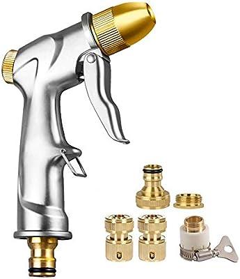 FANHAO Pistola Manguera jardin metal para manguera de jardín con boquilla de latón completa, pistola de riego, perfecto para riego de césped, lavado de coche, ducha de mascotas, limpieza en la calle: