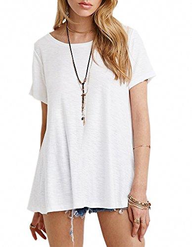 Afibi Women's Basic Short Sleeve Scoop Neck Swing Tunic Loose T-Shirt (XXX-Large, - Size Plus Shorts Tri