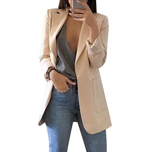 2019 Solid Color Turn-Down Collar Coat Lady Business Suit Cardigan Jacket Suit Femme Blazer Slim Thin,Khaki,S