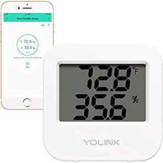 YoLink Smart Wireless Temperature & Humidity Sensor, Wide Temp Range (-22 to 158 Degree) for Freezer, Fridge, Green House, Pet Cage Monitoring, Smartphone Alerts, Works w/Alexa IFTTT -Hub Required