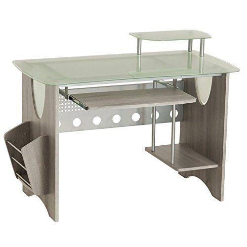 Frosted Tempered Glass Computer Desk (Techni Mobili Stylish Frosted Glass Top Computer Desk with Storage. Color Grey)