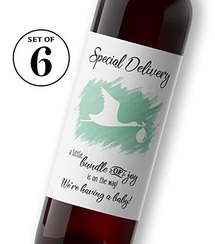 Stork Baby Announcement Wine Labels ● SET of 6 ● GENDER NEUTRAL Mint Green Pregnancy Announcement Wine Labels, Alternative to Pregnancy Announcement Cards, Pregnancy Reveal, WEATHERPROOF, STORK-WL-MT