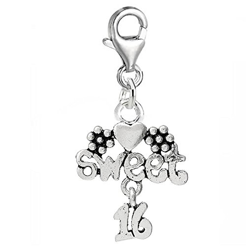 SEXY SPARKLES Sweet 16 Flower Heart Clip On For Bracelet Charm Pendant for European Charm Jewelry w/Lobster Clasp