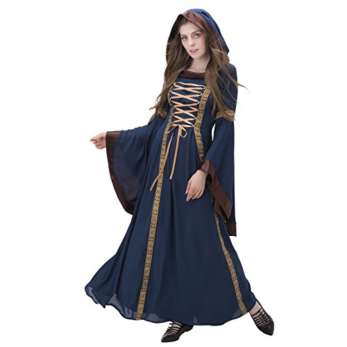 1791's lady Meadieval/renaissance Hooded Costume Dress NQ0026-2-XL (Hooded Renaissance Dress)