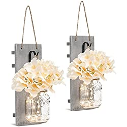 Chen Mason Jar Sconces LED - Fairy Lights,Vintage Wrought Iron Hooks, Silk Hydrangea Flower LED Strip Lights Design Home Kitchen Decoration Set of 2