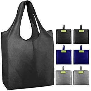BeeGreen Reusable Grocery Shopping Bags Tote Bag Shopping Bags with Pouch XLarge 50LBS Waterproof Nylon Machine Washable…