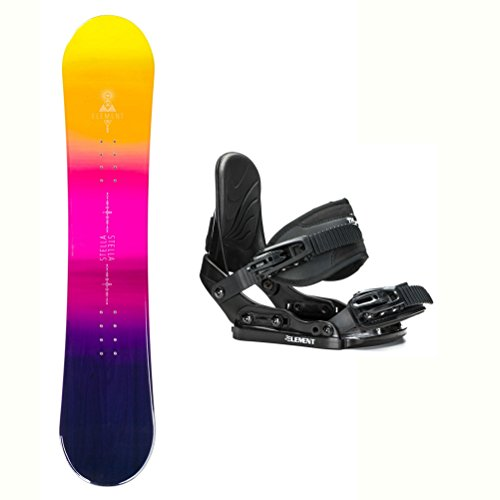 Girls Snowboard Binding - Stella Element Yellow Stealth Girls Snowboard and Binding Package - 140cm/1-5