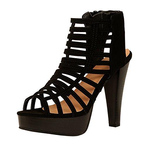 Guilty Shoes Womens Cutout Gladiator Ankle Strap Platform Fashion High Heel Stiletto Sandals (7.5 B(M) US, Blackv4 PU) (Fashion Women Shoes Sandal)