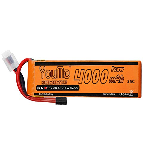 Youme 3S RC Lipo Batteries,11.1V Lipo Battery 4000mAh 35C 70C TRX Connector for Traxxas RC Car/Truck, Quadcopter Drone Helicopter Align Trex 500 550E 600 Gaui(5.31 x 1.65 x 0.98 in 0.67lb)