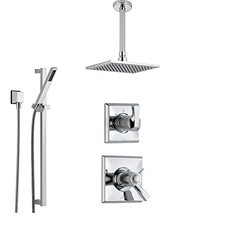 Delta Dryden Chrome Shower System with Thermostatic Shower Handle, 3-setting Diverter, Modern Square Ceiling Mount Rain Showerhead, and Handheld Shower SS17T5182 Delta Faucets