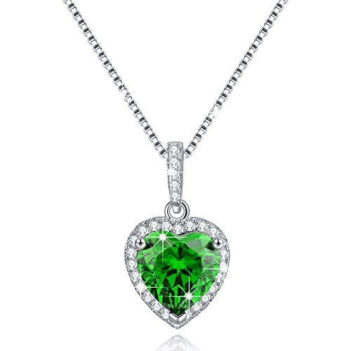 (Created Birthstone Necklace May Simulated Emerald Necklace Love Heart Necklace Sterling Silver Necklace Gifts for Mom)