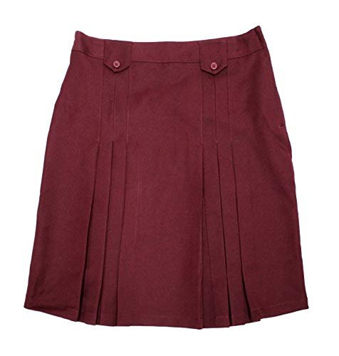 Girls' Front Pleated Skirt with Tabs, Burgundy, 16 ()