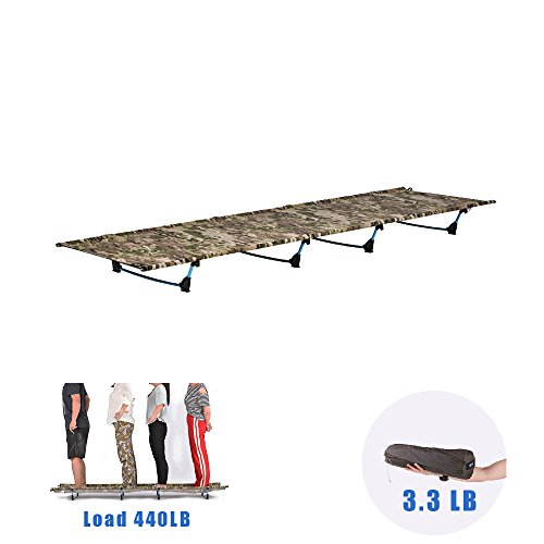 Folding Portable Sport Camping Bed,Desert Walker Lightweight Camping Cot with 440 Lbs Bearing Waterproof Bed Surface,Perfect for Base Camp,Hiking and Hunting (camouflage) by DESERT WALKER