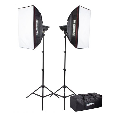 Fovitec StudioPRO 400 Watt Monolight Strobe Flash Photography Lighting Kit for Wedding, Food Blogging, Portrait, Product Photo - (2) 200W/s Flash Head with Light Stands & 20''x28'' Softbox by Fovitec