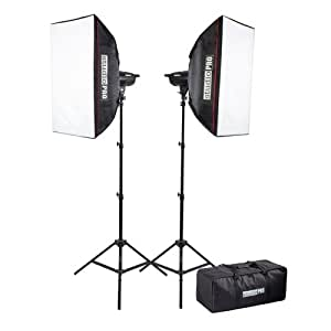 "Fovitec StudioPRO 400 Watt Monolight Strobe Flash Photography Lighting Kit for Wedding, Food Blogging, Portrait, Product Photo - (2) 200W/s Flash Head with Light Stands & 20""x28"" Softbox"