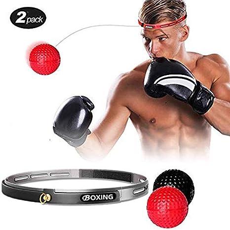 Pelota de boxeo Reflex, 2 pelotas de velocidad de nivel de dificultad con diadema, más suave que la pelota de tenis, perfecto para fitness, boxeo: Amazon.es: Hogar