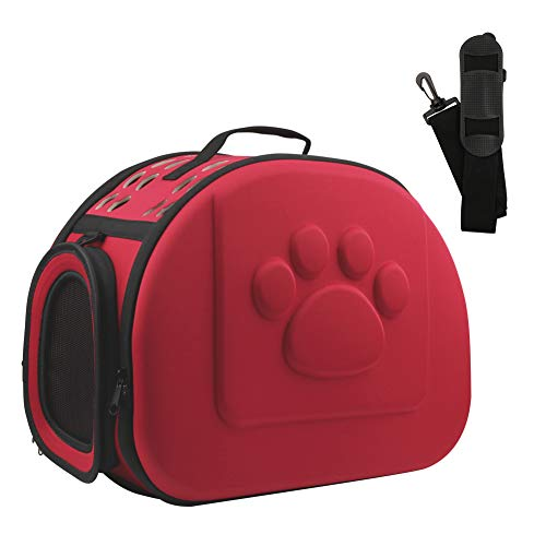 AriTan Pet Travel Carrier, Soft-Sided Collapsible Portable EVA Cat Bag with Mesh Windows, Porous Design, Best for Small or Medium Dog and Cat (Large, red)
