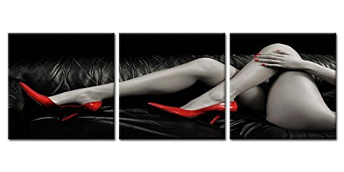 Canvas Prints Wall Art Paintings Bottocks Thigh Nude-Photo Woman Red High-Heeled Shoes In Black And White 3 Pieces Panel Modern Framed Artwork The Pictures For Bedroom Decor Nude Photo On Canvas