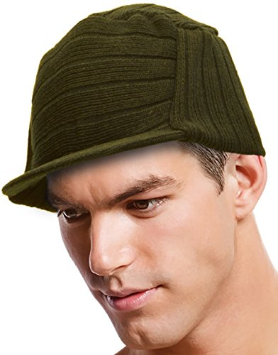 Army Jeep Style Surplus Beanie Flat Top Knit Cap with Visor Olive