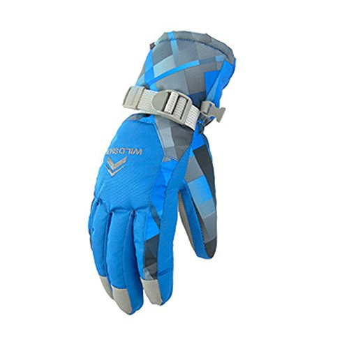 Koola Outdoors Men's Women's Ski Snowboard Gloves Cold Weather,Blue-l,L-Women